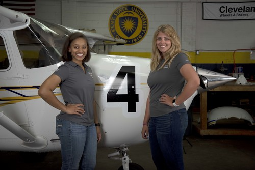 Alex Johnson (left) and Kenzie Alge (right) make up the Kent State University team competing in the 2019 Air Race Classic.