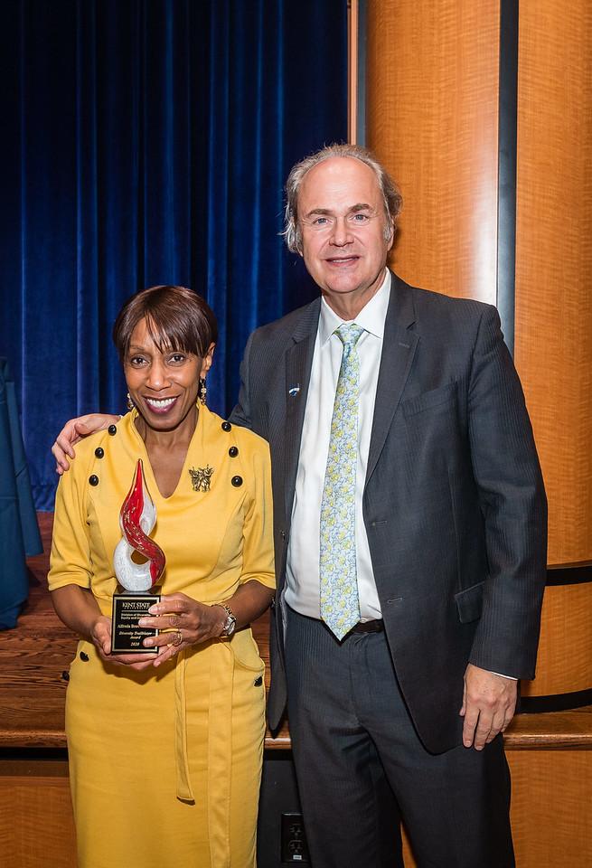Alfreda Brown and President Todd Diacon