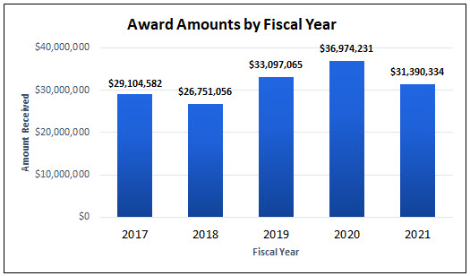 Award Amounts by Fiscal Year (2017-2021)