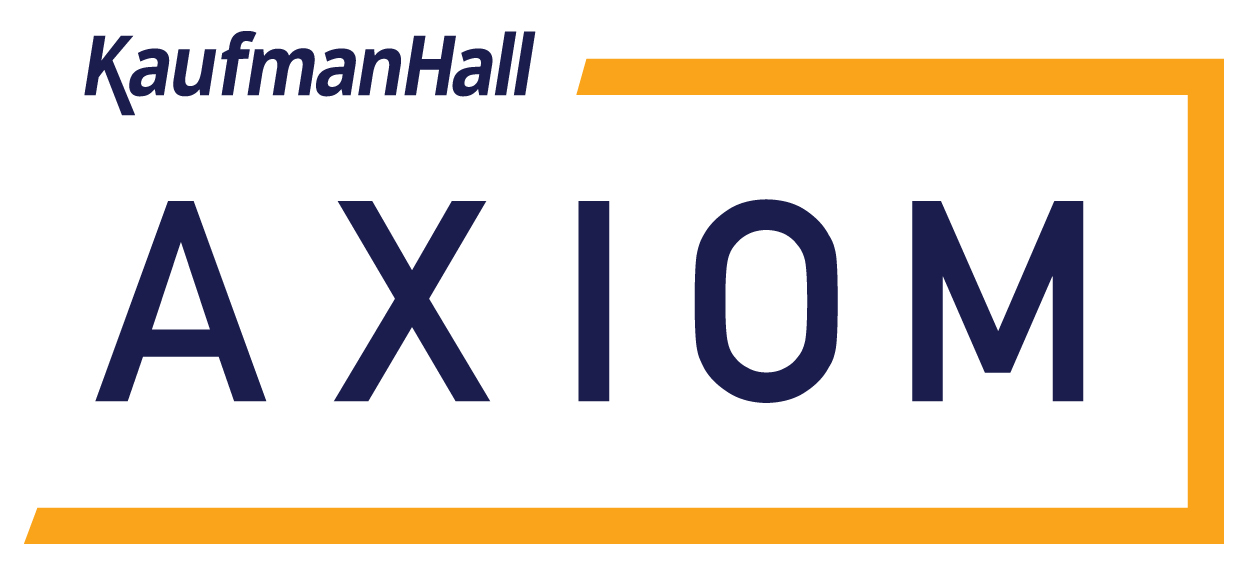 Kaufman Hall Axiom logo blue letter with yellow box