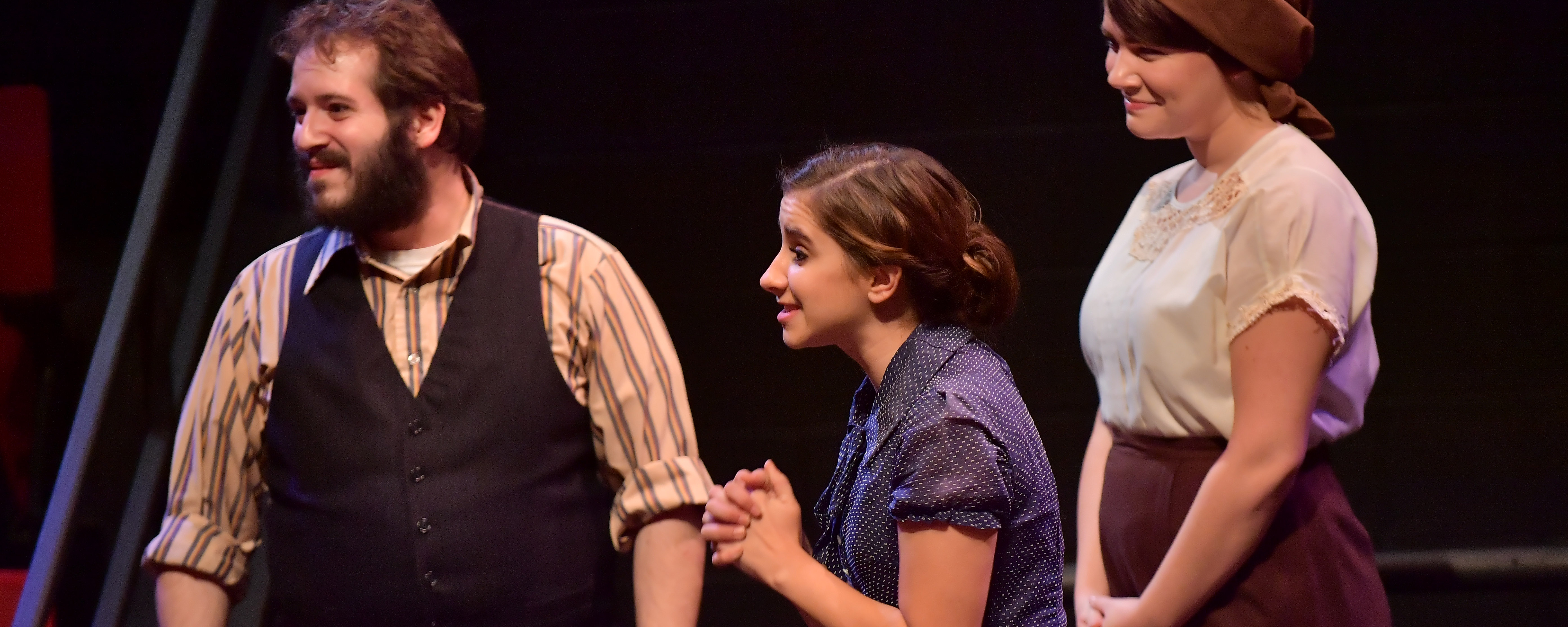 "Talia Cosentino (center) performs in ""Irena's Vow"" at Kent State"