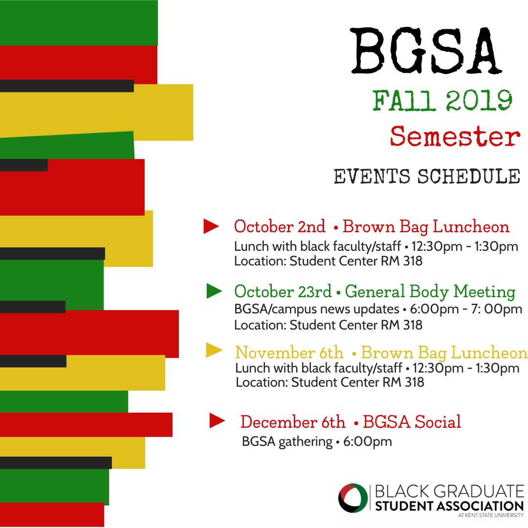 BGSA Fall 2019 Semester Event Schedule