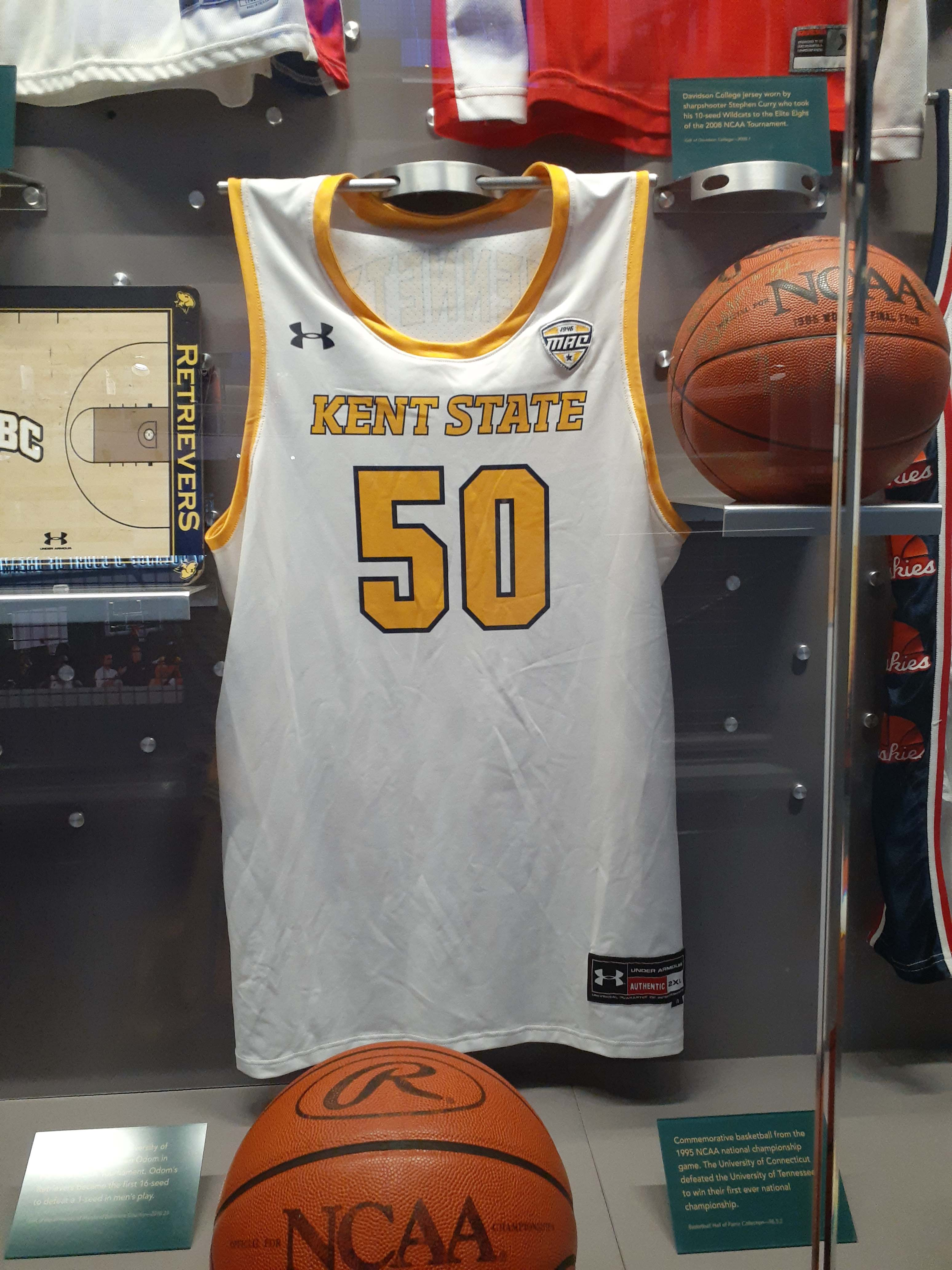 Kalin Bennett's Jersey on display at the Naismith Memorial Basketball Hall of Fame. (Photo courtesy of the Naismith Memorial Basketball Hall of Fame)