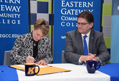 Kent State President Beverly Warren and Eastern Gateway Community College President Jimmie Bruce