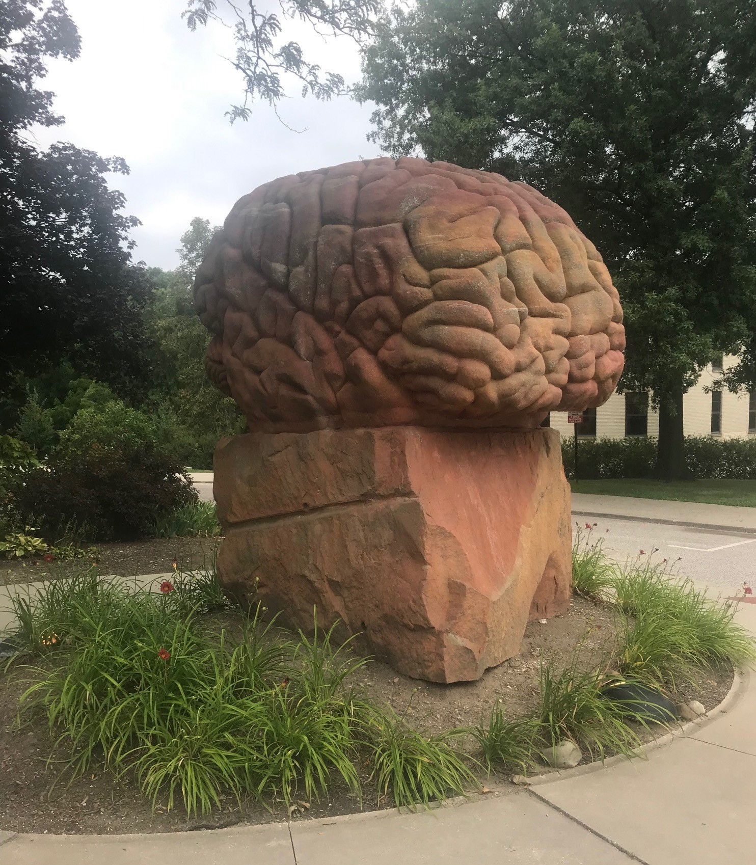 Carved stone brain statue at Kent State University