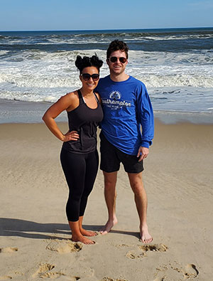 Brittany Bryte and Tony Koch finding time for well-earned respite on a Long Island beach