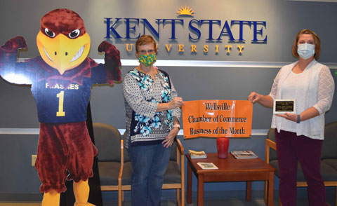 Chamber President Sheryl Gibson (left) made the presentation to Dr. Susan Rossi, assistant dean of the East Liverpool Campus