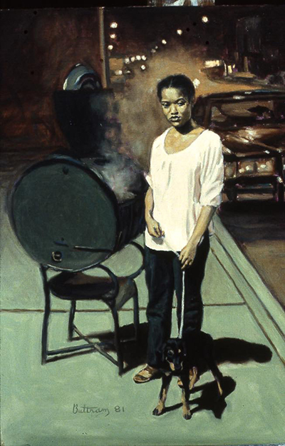 Painting by David Buttram - a woman standing in front of a barbeque grill with a dog on a leash.