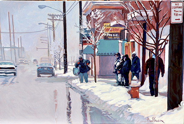 Painting of a snowy street with people waiting at a bus stop by David Buttram.