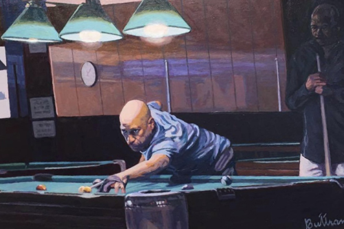 Painting of a man shooting pool in a pool hall by David Buttram.