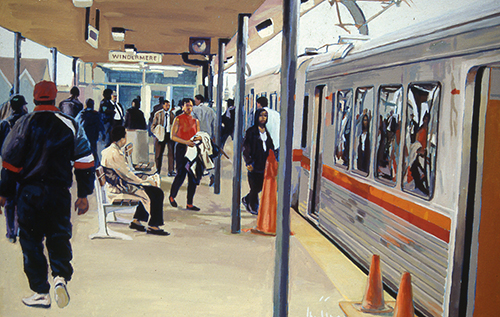 Painting of a train stop with people waiting by David Buttram