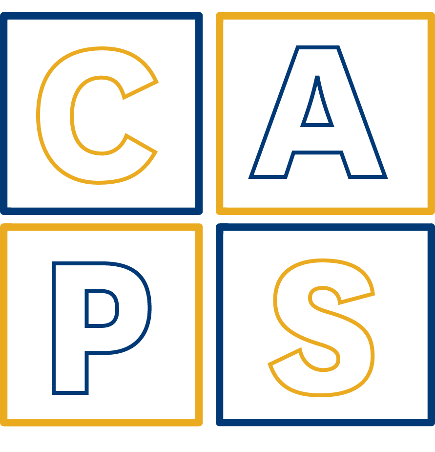 Letters CAPS in blue and gold blocks