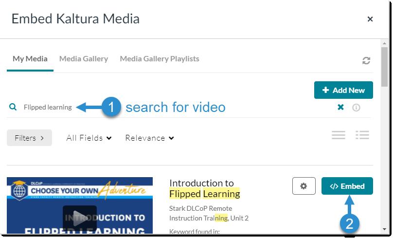 Embed Kaltura Media menu: Select video