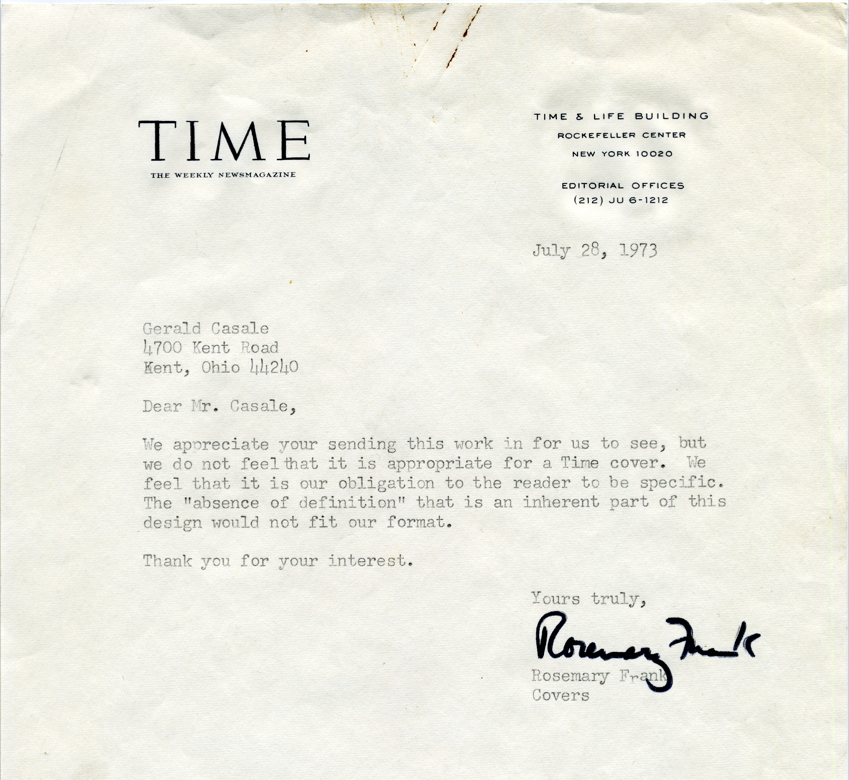 Rejection letter to Gerald Casale from Time Magazine