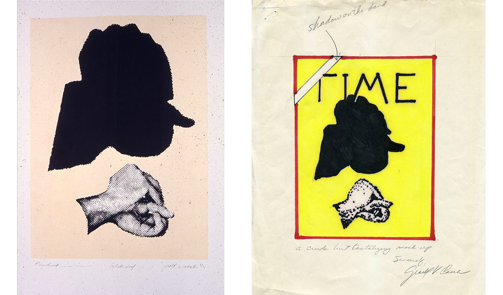 Jerry Casale print of shadow puppet that resembles Richard Nixon's silhouette. Submission for Time Magazine cover.