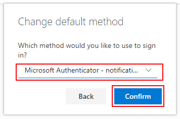 Select new default option from drop-down
