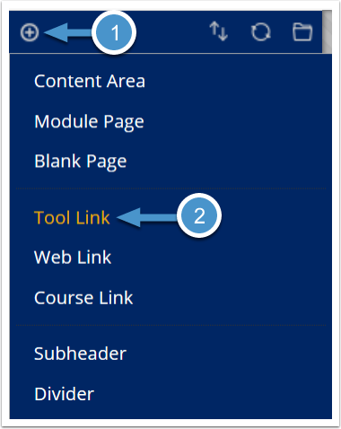 Create course menu tool link
