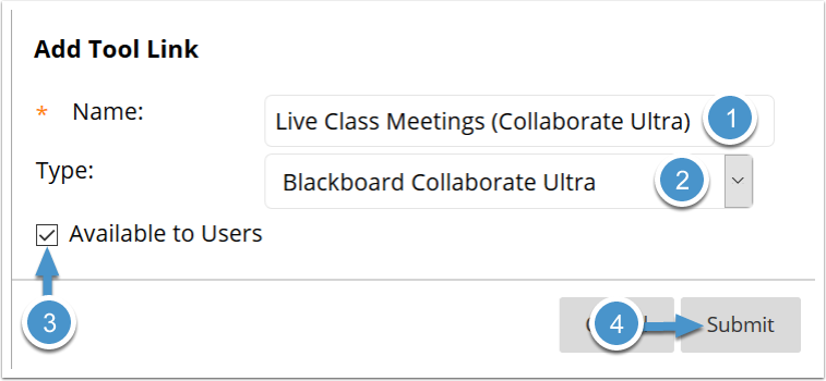 Collaborate Ultra course menu link options