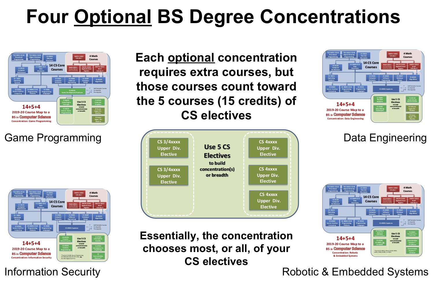 Four Optional BS Degree Concentrations Replacing CS Electives