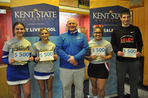 During halftime activities, four high school students were each awarded a $500 Opportunity Scholarship, to be used at either Columbiana County campus next academic year.