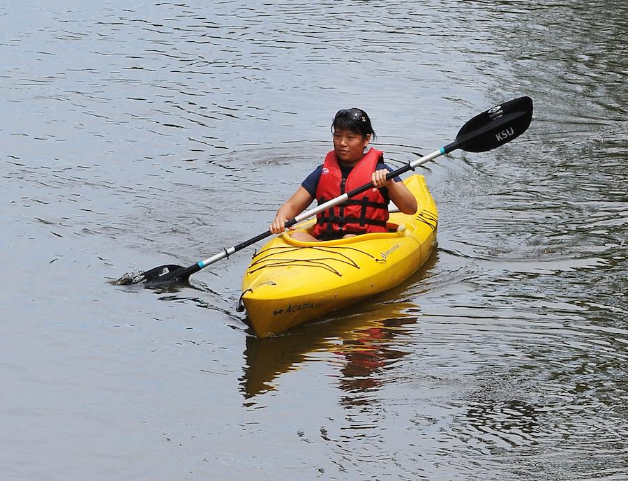 Kent State student kayaking