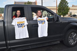 Showing off their t-shirts in East Liverpool