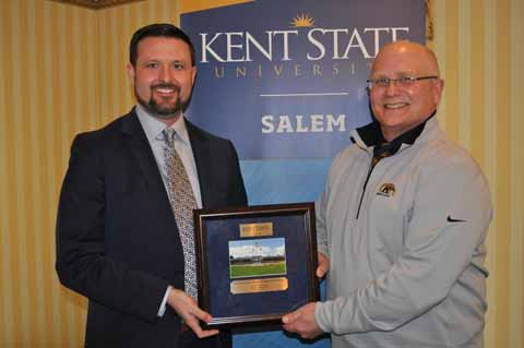 Daniel Moore (left) received the Friend of the Campus Award, presented by Dr. David Dees, dean.