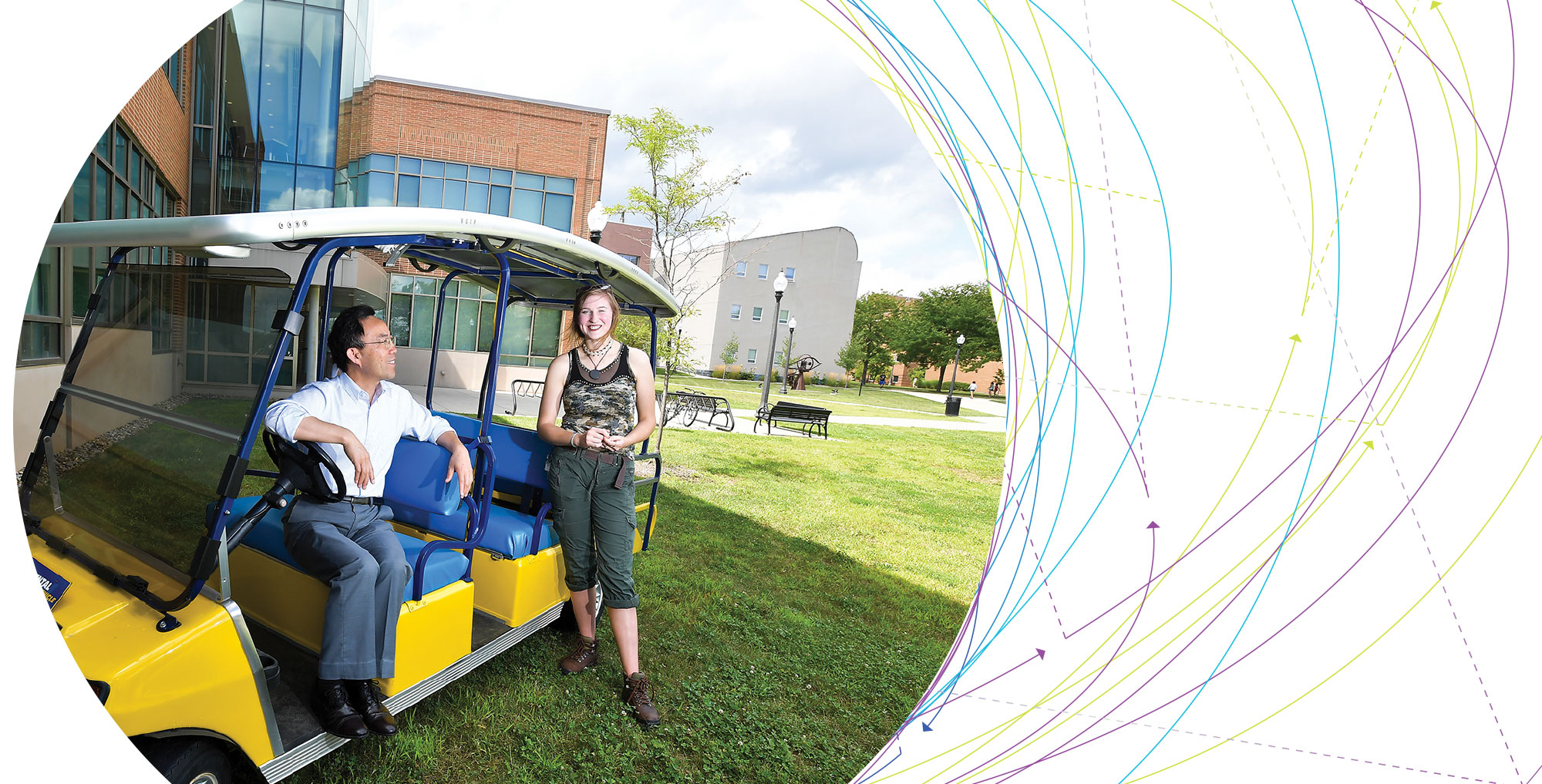 Dr. Yanhai Du and Angela Deibel pose  with the ZEV on the Kent Campus.