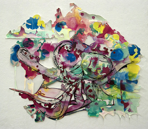 Artwork by Anna Glowe - collaged abstract drawing with watercolor