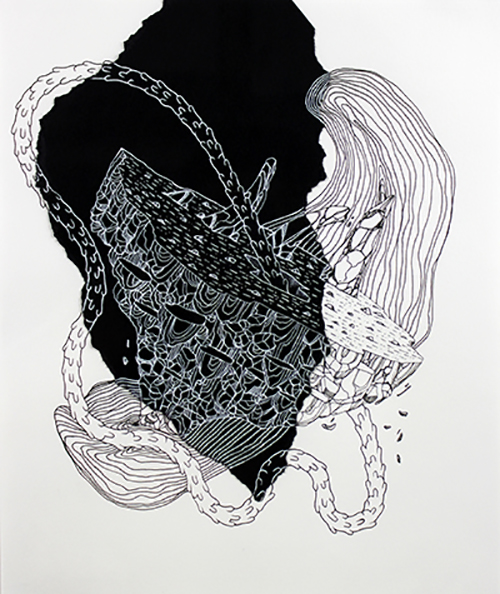Black and white drawing by Ashley Williams