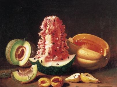 Edward Edmondson, Jr., Still Life with Melons, Pear and Peach, 1862.