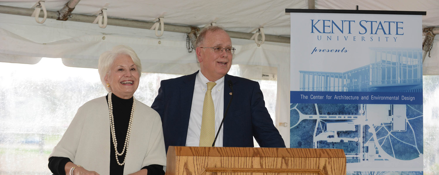 Fonda and John Elliot, Kent State alumni and donors, speak during the groundbreaking for the Center for Architecture and Environmental Design.