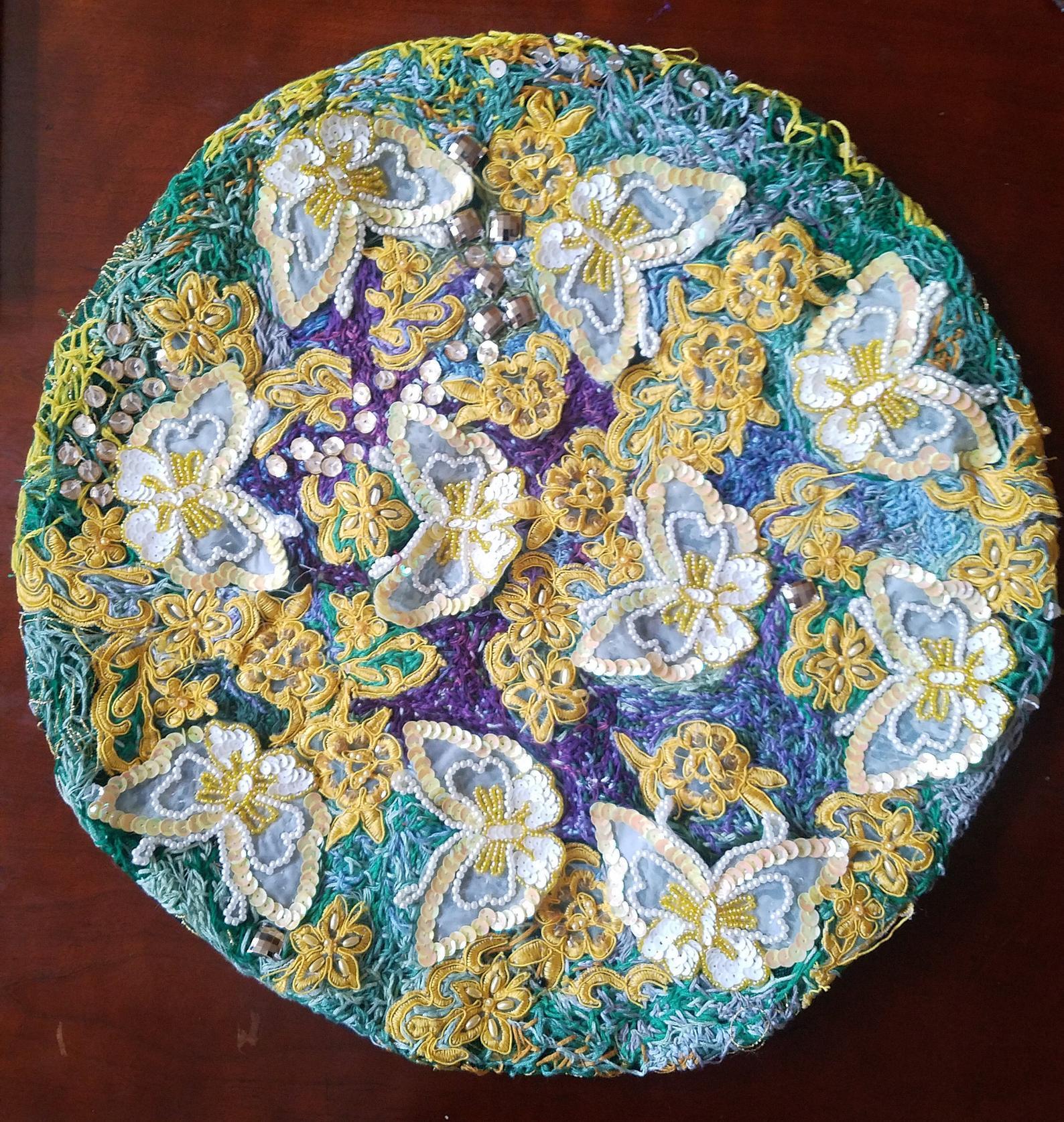 Prairie Lande butterfly embroidery piece