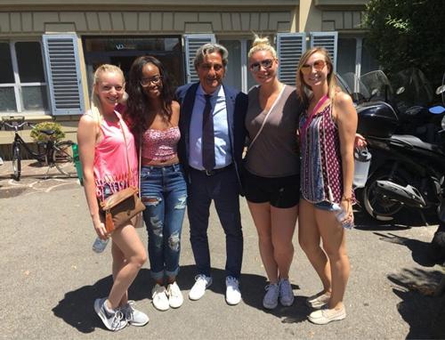 Elizabeth Rausch, Brea Gunn, Izzy Scarl, and Megan Cipolla with Massimo Fibbi, their guide at Villa Donatello Private Clinic.