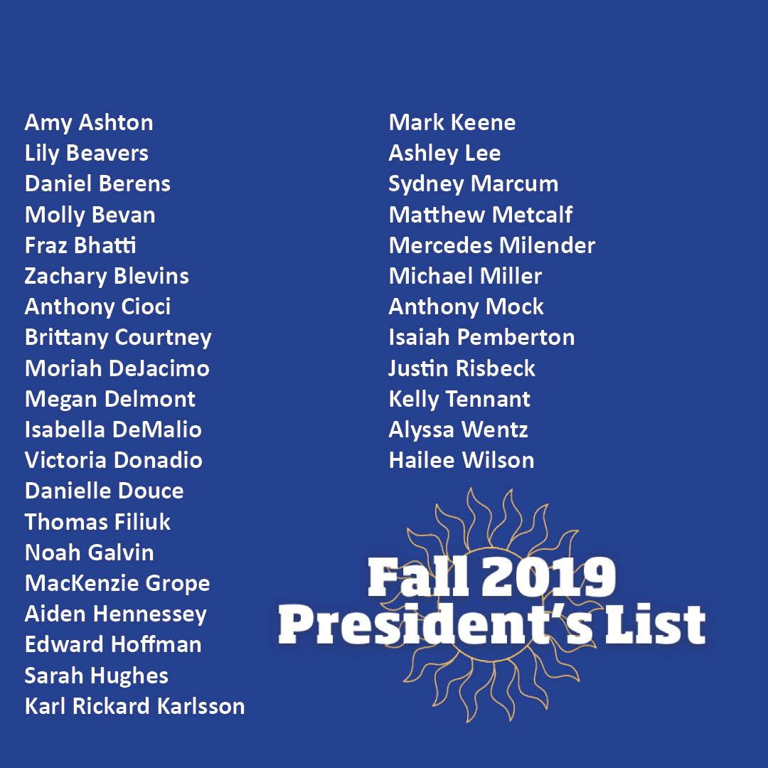 Fall President's List