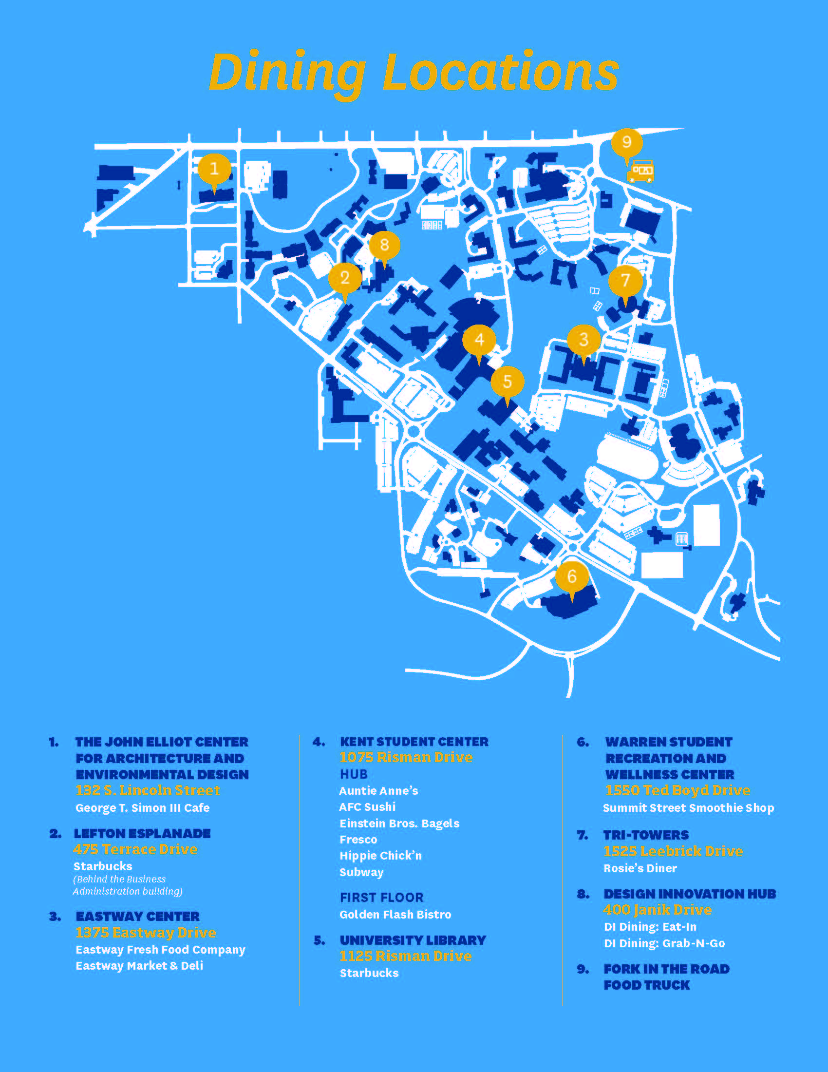 Kent State University Dining Locations Map