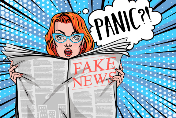 "A graphic of a woman holding a newspaper reading ""Fake News""."