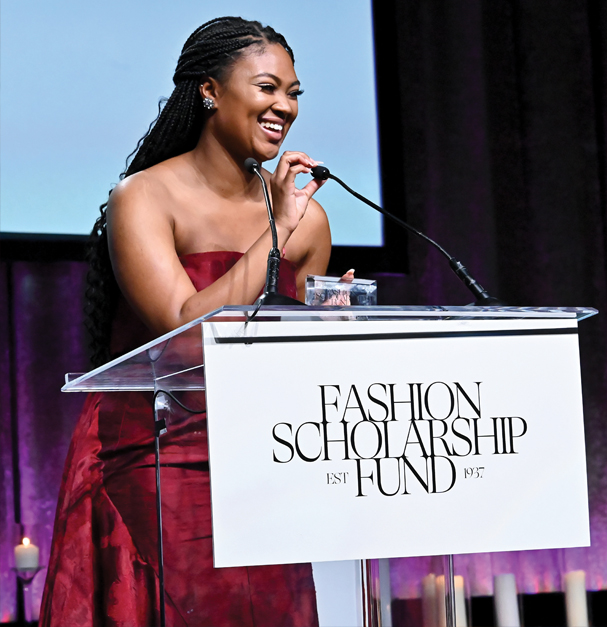 Kent State University School of Fashion student Tyshaia Earnest wins the top award at the 2020 Fashion Scholarship Gala in New York City.