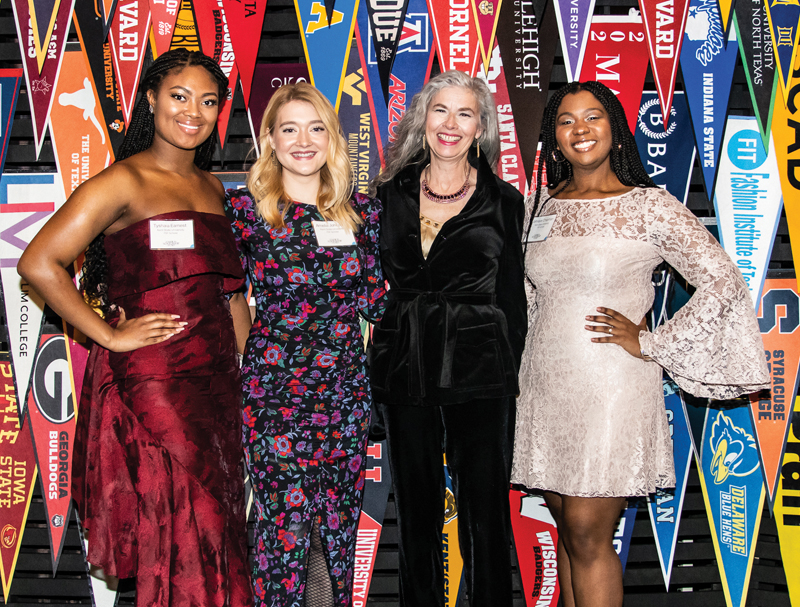 Representing Kent State University at the 2020 Fashion Scholarship Fund Gala are Tyshaia Earnest, Amelia Johnson, Catherine Leslie, PhD, professor at the School of Fashion Design and Merchandising, and Jahnaye Chapman.