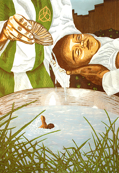 Print by J. Leigh Garcia. A baby being baptized. The water has a figure swimming in it.