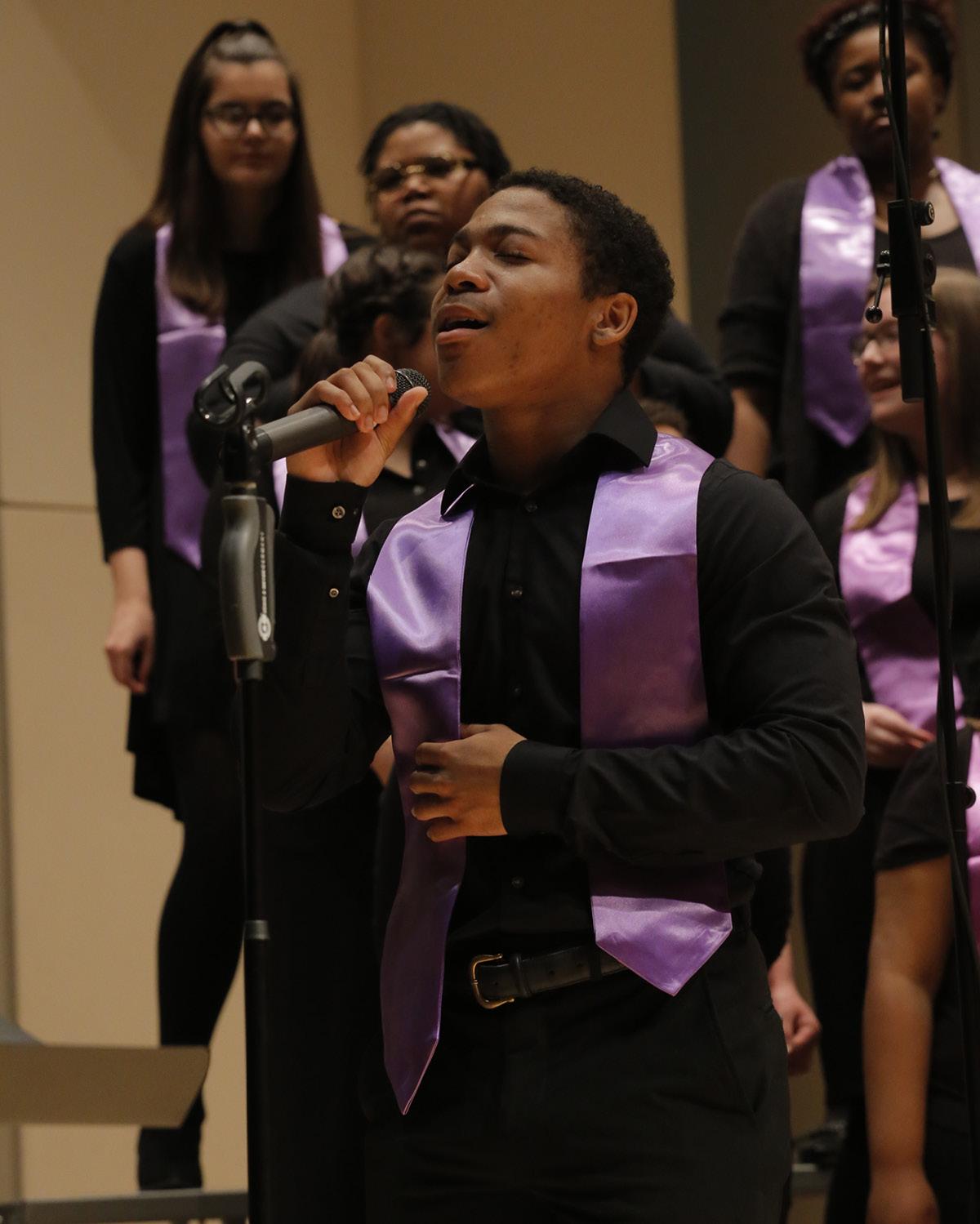 Students singing in KSU Gospel Choir