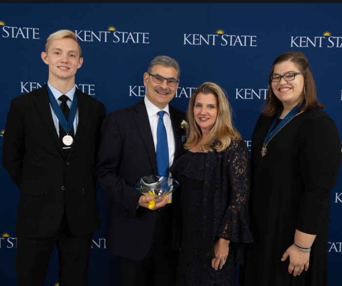 Jacob Grant pictured (far left) with Mr. and Mrs. Rob Risman, and a fellow recipient of the The 2020 Marion C. & William B. Risman Scholarship.