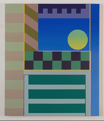 Abstract painting in blue and green by Griffin Allman