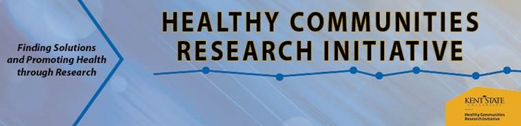 Banner logo for Healthy Communities Research Initiative that also says finding solutions and promoting health through research