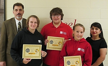 Kent State Trumbull's James Canacci (far left) and Ana Wetzl (far right), join Excite to Write winners Hope Weckerly (left), Gabriel Cuddy (center) and Ashley Wolanzyk.