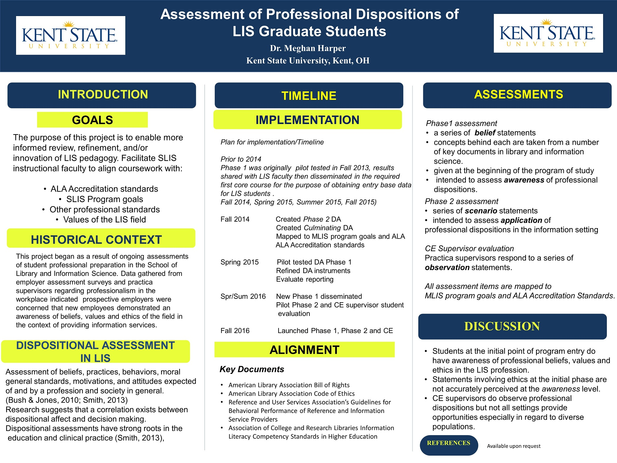 Research Poster - Dr. Harper - Assessment of Professional Dispositions of LIS Graduate Students