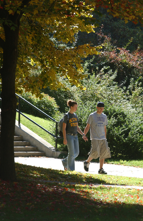 Two students walking and holding hands on a bright fall day