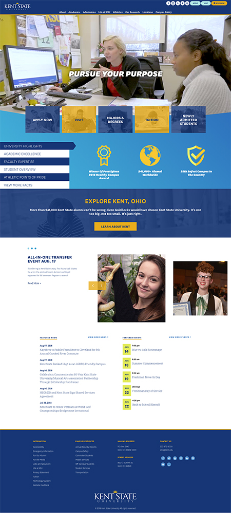 Pictured is a screenshot of the newly launched Kent State University website.