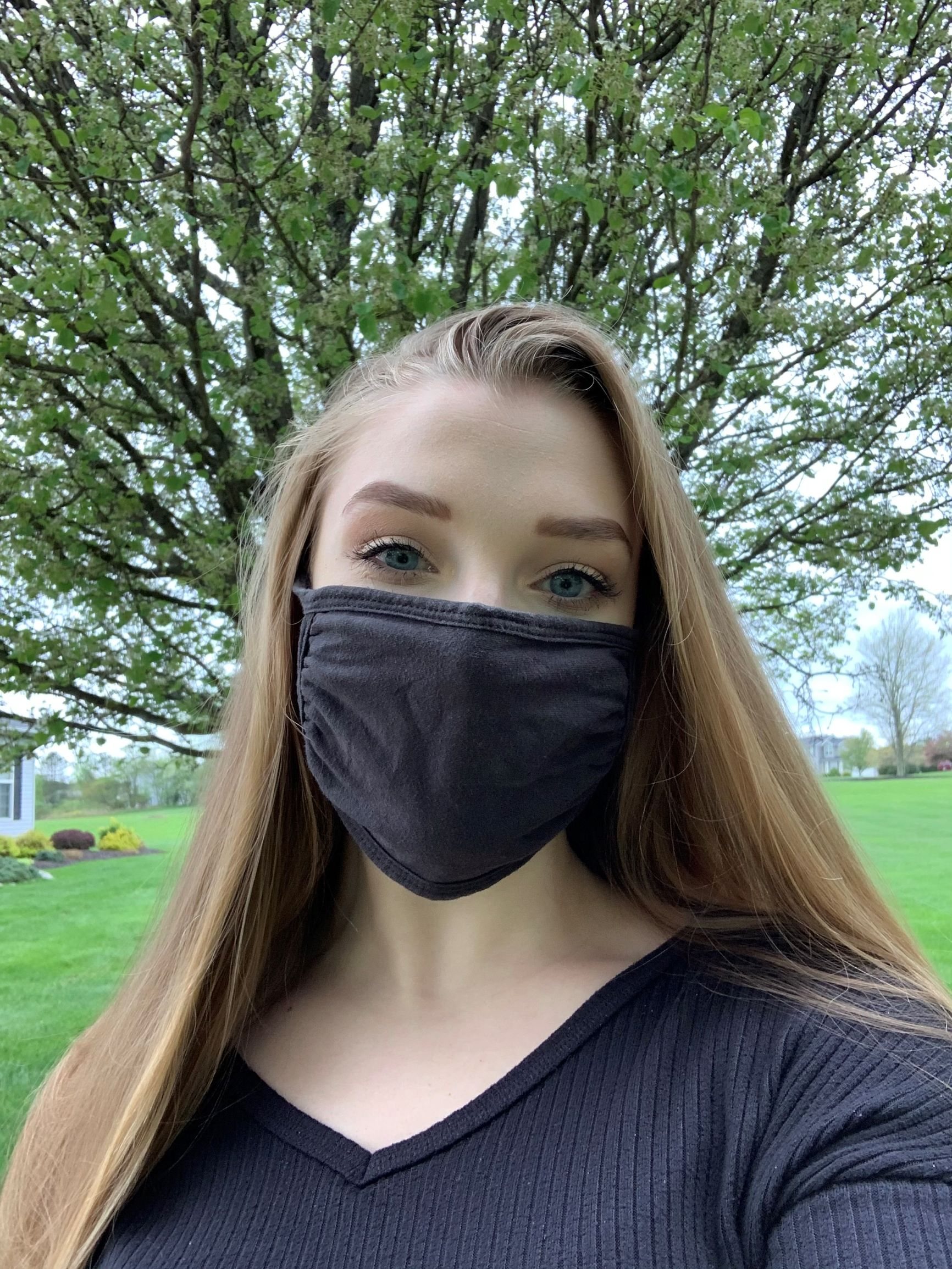 Gabriella wearing a mask outside in Wadsworth, Ohio.