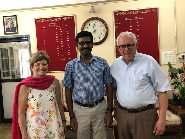 Picture of David and Janet with V. Santhosh Kumar, the newly appointed principal of the school